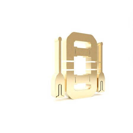 Gold Rafting boat icon isolated on white background. Inflatable boat with oars. Water sports, extreme sports, holiday, vacation, team building. 3d illustration 3D render