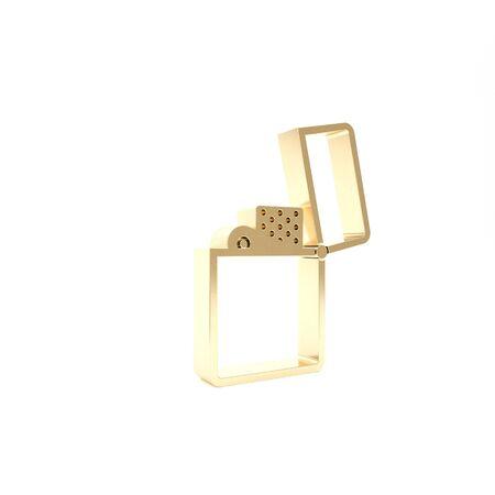 Gold Lighter icon isolated on white background. 3d illustration 3D render Foto de archivo - 133426718