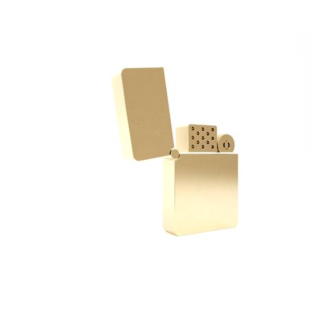 Gold Lighter icon isolated on white background. 3d illustration 3D render Foto de archivo - 133426719