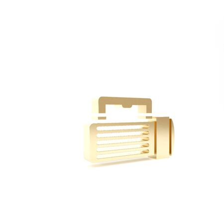 Gold Flashlight icon isolated on white background. Tourist flashlight handle. 3d illustration 3D render Banque d'images - 133426729