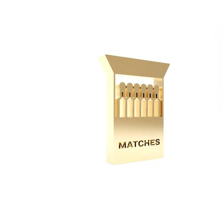 Gold Open matchbox and matches icon isolated on white background. 3d illustration 3D render