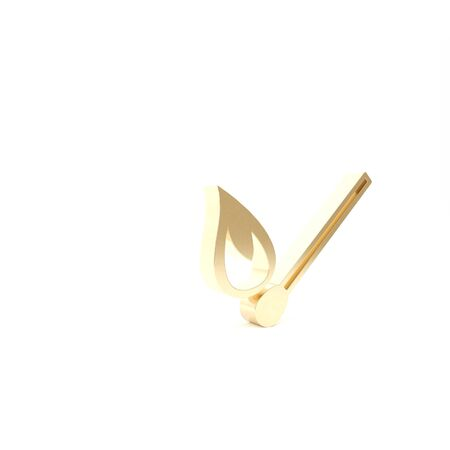 Gold Burning match with fire icon isolated on white background. Match with fire. Matches sign. 3d illustration 3D render Stock fotó