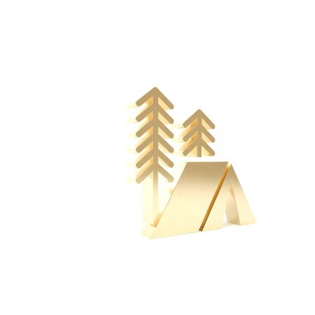 Gold Tourist tent icon isolated on white background. Camping symbol. 3d illustration 3D render 스톡 콘텐츠