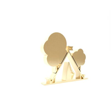 Gold Tourist tent with flag icon isolated on white background. Camping symbol. 3d illustration 3D render