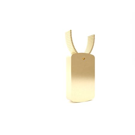 Gold Military dog tag icon isolated on white background. Identity tag icon. Army sign. 3d illustration 3D render
