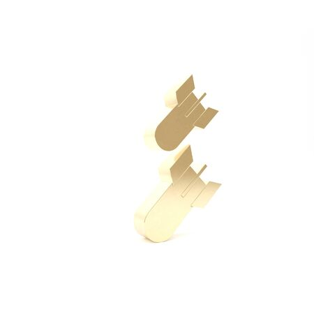 Gold Aviation bomb icon isolated on white background. Rocket bomb flies down. 3d illustration 3D render Imagens