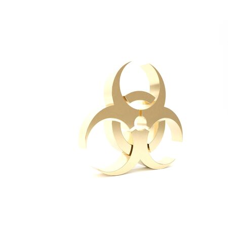 Gold Biohazard symbol icon isolated on white background. 3d illustration 3D render Фото со стока - 133426460