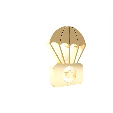 Gold Parachute with first aid kit icon isolated on white background. Medical insurance. 3d illustration 3D render Фото со стока