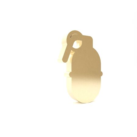 Gold Hand grenade icon isolated on white background. Bomb explosion. 3d illustration 3D render Imagens