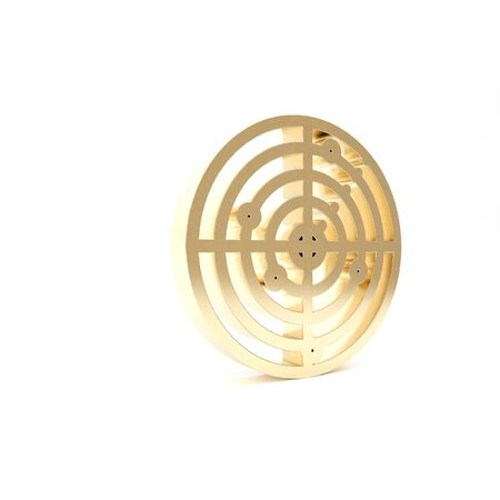 Gold Radar with targets on monitor in searching icon isolated on white background. Military search system. Navy sonar. 3d illustration 3D render Foto de archivo - 133426492
