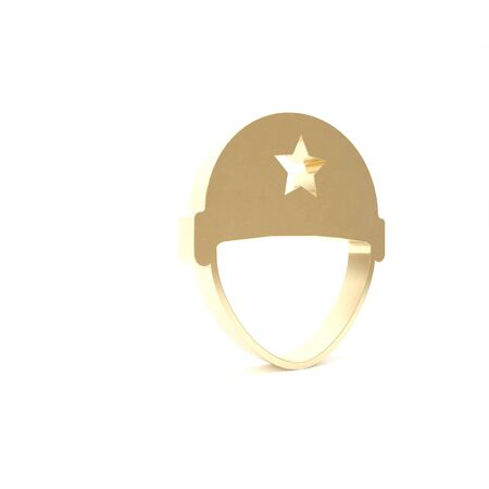 Gold Military helmet icon isolated on white background. Army hat symbol of defense and protect. Protective hat. 3d illustration 3D render Stock Photo