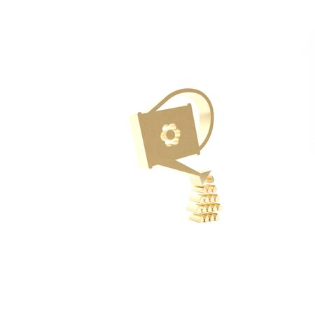 Gold Watering can icon isolated on white background. Irrigation symbol. 3d illustration 3D render