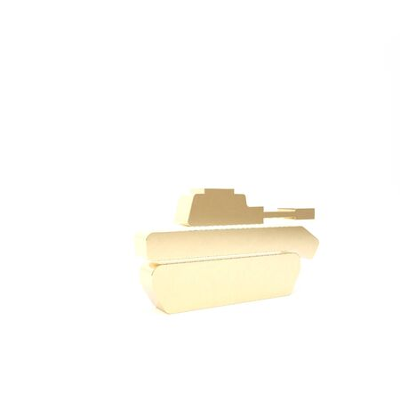 Gold Military tank icon isolated on white background. 3d illustration 3D render