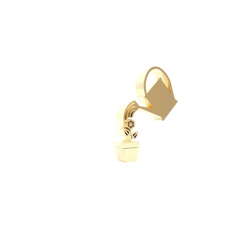 Gold Watering can sprays water drops above flower in pot icon isolated on white background. Irrigation symbol. 3d illustration 3D render Zdjęcie Seryjne