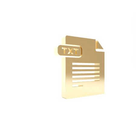 Gold TXT file document. Download txt button icon isolated on white background. Text file extension symbol. 3d illustration 3D render Reklamní fotografie
