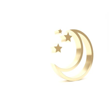 Gold Moon and stars icon isolated on white background. 3d illustration 3D render