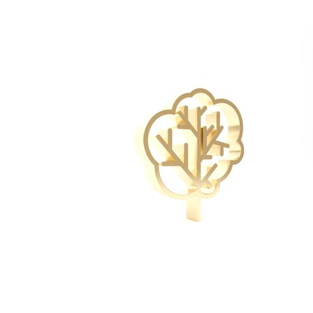 Gold Tree icon isolated on white background. Forest symbol. 3d illustration 3D render Stockfoto