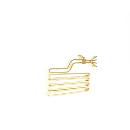 Gold Garden hose or fire hose icon isolated on white background. Spray gun icon. Watering equipment. 3d illustration 3D render
