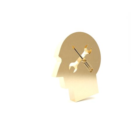 Gold Human head with with screwdriver and wrench icon isolated on white background. Artificial intelligence. Symbol work of brain. 3d illustration 3D render Archivio Fotografico - 133426551