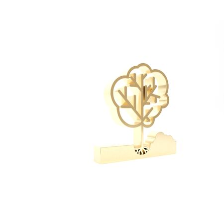 Gold Planting a tree in the ground icon isolated on white background. Gardening, agriculture, caring for environment. 3d illustration 3D render