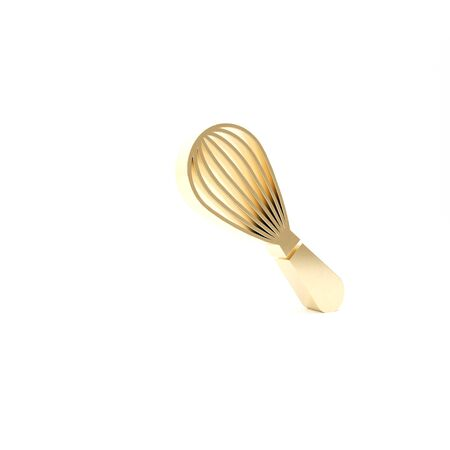 Gold Kitchen whisk icon isolated on white background. Cooking utensil, egg beater. Cutlery sign. Food mix symbol. 3d illustration 3D render Stock fotó