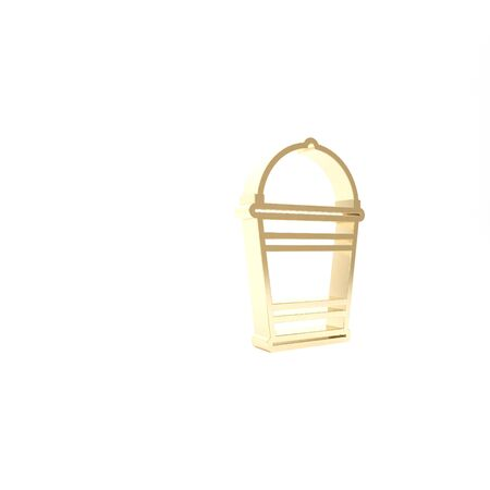 Gold Bucket icon isolated on white background. 3d illustration 3D render Zdjęcie Seryjne