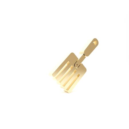 Gold Garden fork icon isolated on white background. Pitchfork icon. Tool for horticulture, agriculture, farming. 3d illustration 3D render Zdjęcie Seryjne