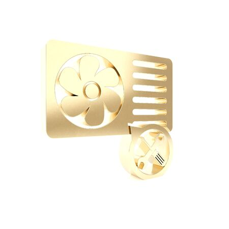 Gold Air conditioner with screwdriver and wrench icon isolated on white background. Adjusting, service, setting, maintenance, repair, fixing. 3d illustration 3D render