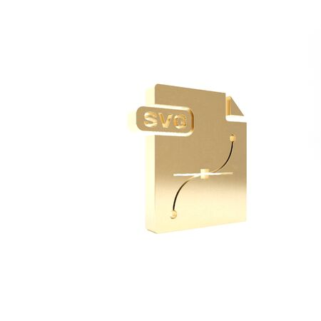 Gold SVG file document. Download svg button icon isolated on white background. SVG file symbol. 3d illustration 3D render 写真素材
