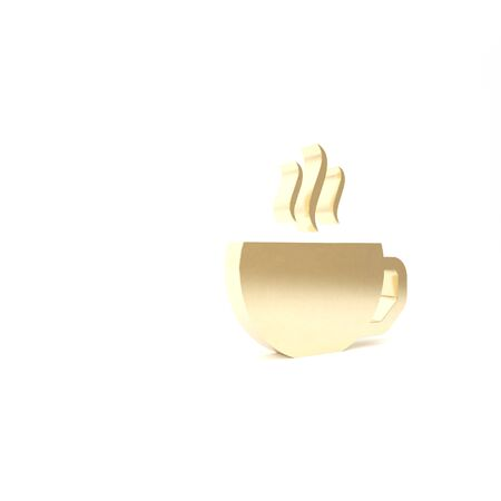 Gold Coffee cup flat icon isolated on white background. Tea cup. Hot drink coffee. 3d illustration 3D render