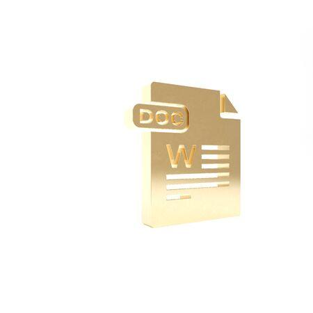 Gold DOC file document. Download doc button icon isolated on white background. DOC file extension symbol. 3d illustration 3D render Reklamní fotografie