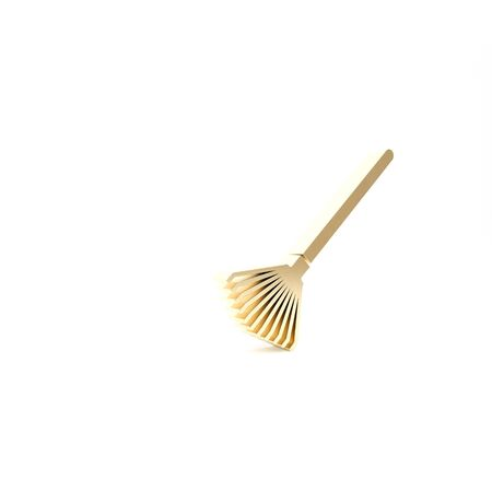 Gold Garden rake for leaves icon isolated on white background. Tool for horticulture, agriculture, farming. Ground cultivator. 3d illustration 3D render