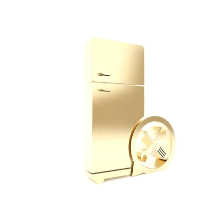 Gold Refrigerator with screwdriver and wrench icon isolated on white background. Adjusting, service, setting, maintenance, repair, fixing. 3d illustration 3D render Banco de Imagens