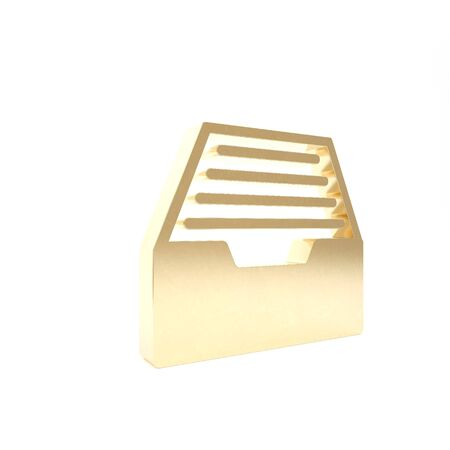 Gold Drawer with documents icon isolated on white background. Archive papers drawer. File Cabinet Drawer. Office furniture. 3d illustration 3D render Banque d'images - 133426643