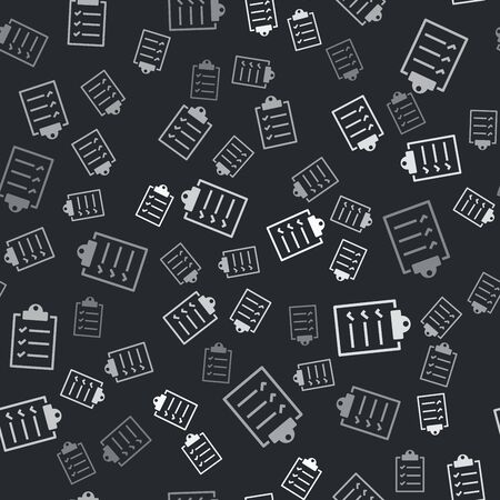 Grey Clipboard with checklist icon isolated seamless pattern on black background. Vector Illustration