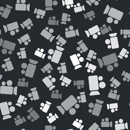 Grey Movie or Video camera icon isolated seamless pattern on black background. Cinema camera icon. Vector Illustration