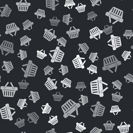 Grey Shopping basket icon isolated seamless pattern on black background. Vector Illustration