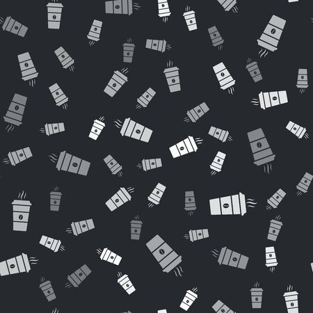Grey Coffee cup icon isolated seamless pattern on black background. Disposable coffee cup with hot coffee. Vector Illustration