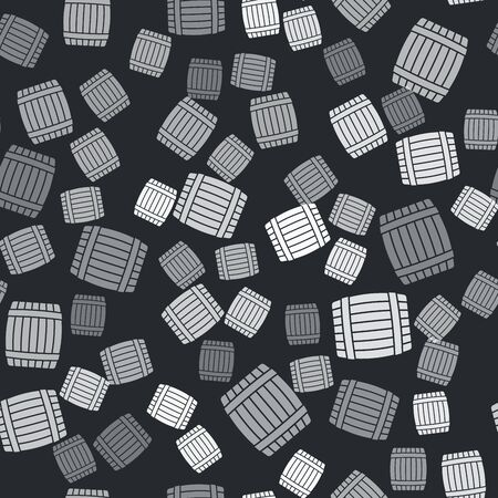 Grey Wooden barrel icon isolated seamless pattern on black background. Vector Illustration