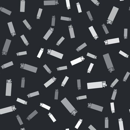Grey Lighter icon isolated seamless pattern on black background. Vector Illustration Foto de archivo - 133429877
