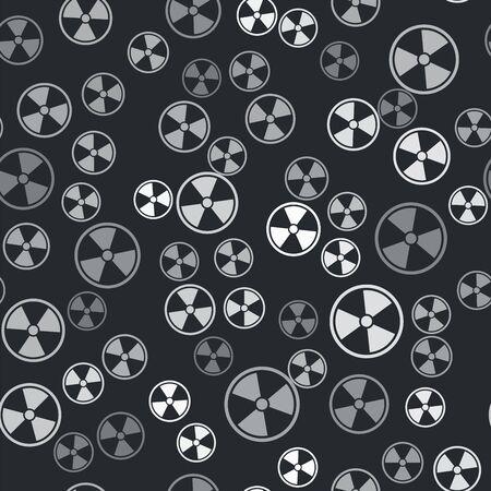 Grey Radioactive icon isolated seamless pattern on black background. Radioactive toxic symbol. Radiation Hazard sign. Vector Illustration Illustration