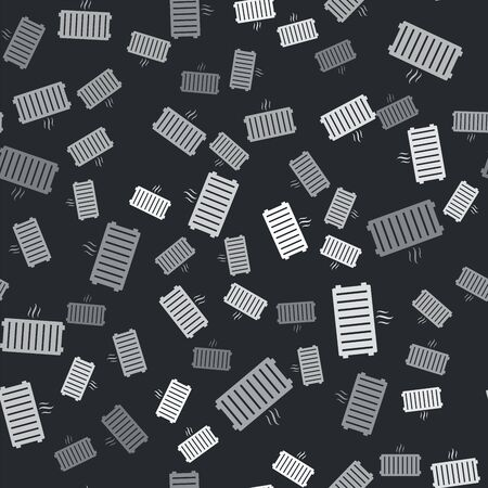 Grey Heating radiator icon isolated seamless pattern on black background. Vector Illustration