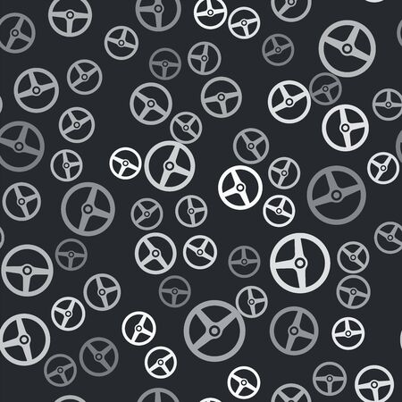 Grey Steering wheel icon isolated seamless pattern on black background. Car wheel icon. Vector Illustration