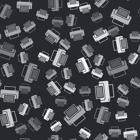 Grey Printer icon isolated seamless pattern on black background. Vector Illustration 向量圖像