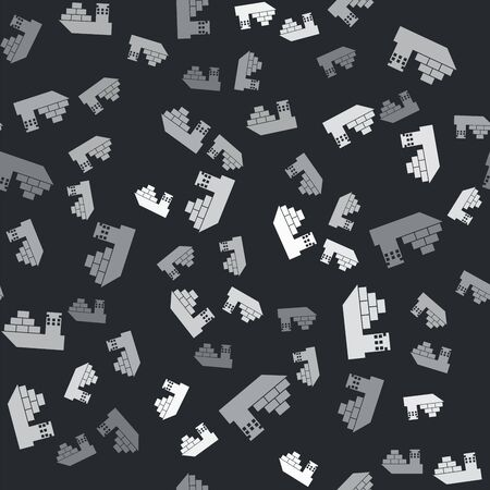 Grey Cargo ship icon isolated seamless pattern on black background. Vector Illustration