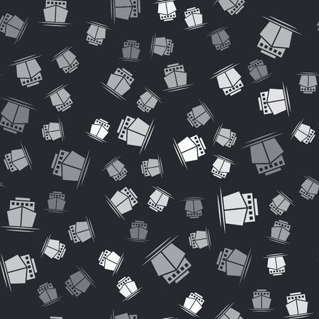 Grey Ship icon isolated seamless pattern on black background. Vector Illustration 向量圖像