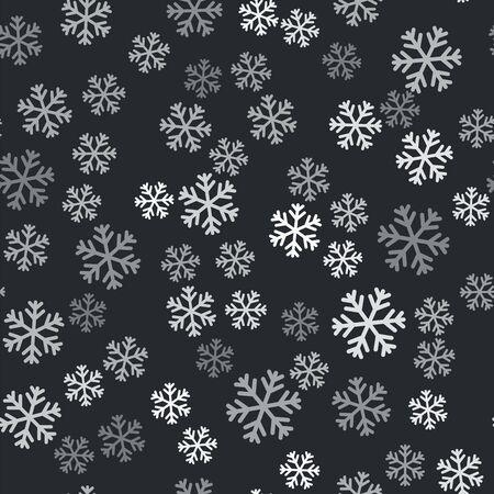 Grey Snowflake icon isolated seamless pattern on black background. Vector Illustration Illustration