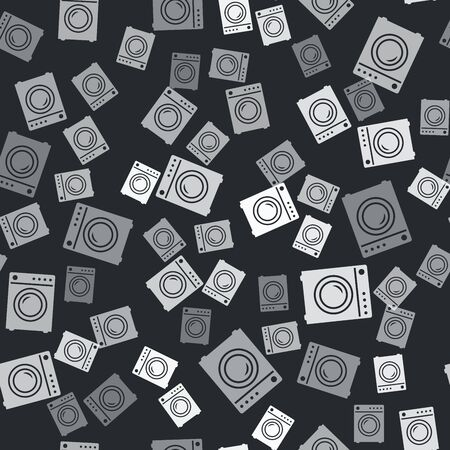 Grey Washer icon isolated seamless pattern on black background. Washing machine icon. Clothes washer - laundry machine. Home appliance symbol. Vector Illustration Иллюстрация