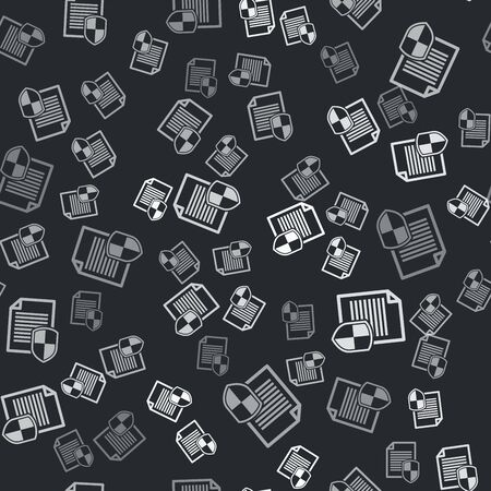 Grey Document protection concept icon isolated seamless pattern on black background. Confidential information and privacy idea, secure, guard, shield. Vector Illustration