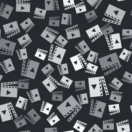 Grey Movie clapper icon isolated seamless pattern on black background. Film clapper board. Clapperboard sign. Cinema production or media industry concept. Vector Illustration  イラスト・ベクター素材